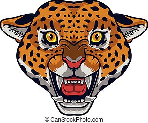 Angry leopard head mascot