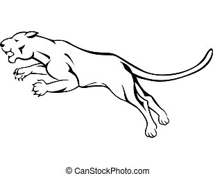 Angry Panther Jumping - Vector Illustration Of Angry Panther...