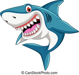 angry shark cartoon - vector illustration of angry shark ...