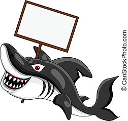 angry shark with blank sign