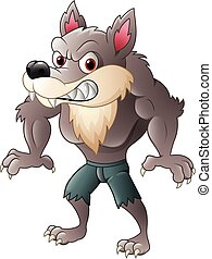 Angry wolf character