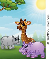 Animal african cartoon in the jungle