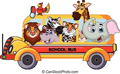 animal cartoon posing in bus