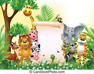 vector illustration of animal cartoon with blank sign