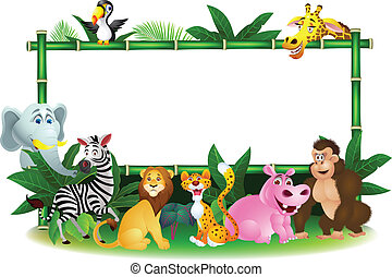 Animal cartoon with blank sign - Vector illustration of...