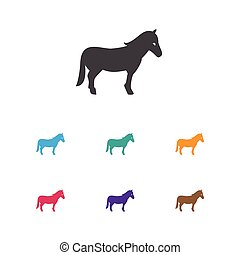 Vector Illustration Of Animal Symbol On Horse Icon. Premium Quality Isolated Stallion Element In Trendy Flat Style.