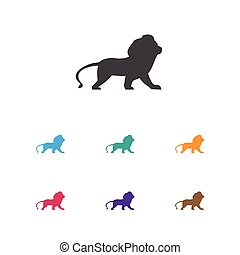 Vector Illustration Of Animal Symbol On Lion Icon. Premium Quality Isolated Wildcat Element In Trendy Flat Style.