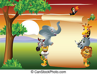 animal wildlife with blank sign - vector illustration of...