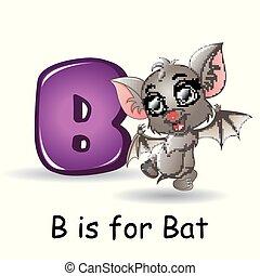 Animals alphabet: B is for Bats - Vector illustration of...