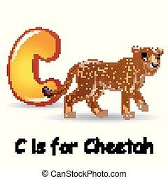 Animals alphabet: C is for Cheetah - Vector illustration of...