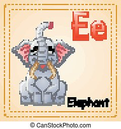 Animals alphabet: E is for Elephants - Vector illustration...