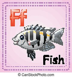 Animals alphabet: F is for fish - Vector illustration of...