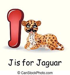 Animals alphabet: J is for Jaguar - Vector illustration of...