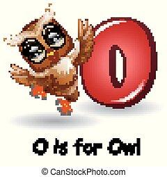 Animals alphabet: O is for Owl