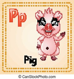 Animals alphabet: P is for Pig - Vector illustration of...