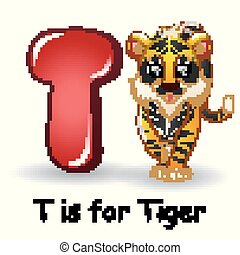 Animals alphabet: T is for Tiger - Vector illustration of...