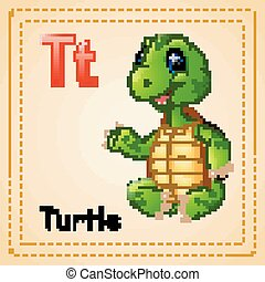 Animals alphabet: T is for Turtle - Vector illustration of...