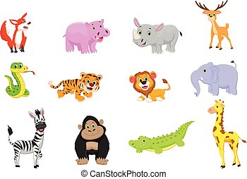 illustration of animals cartoon set