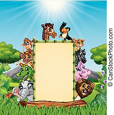 Animals cartoon with blank sign at daylight