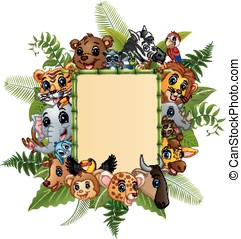 Animals cartoon with blank sign bamboo