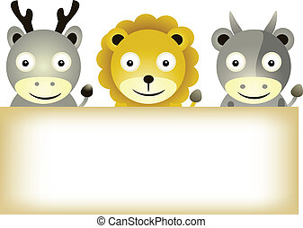 animals cartoon with blank sign