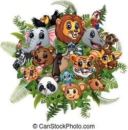 Animals forest cartoon meet together
