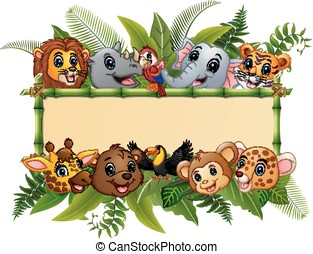 Animals forest cartoon with blank sign bamboo