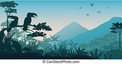 Animals silhouette in forest at night