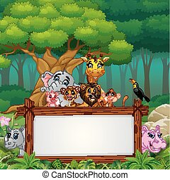 Animals with blank sign in forest