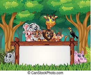 Animals with board blank sign in jungle