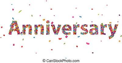 Anniversary sign with colorful confetti