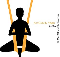 Anti-gravity yoga poses woman silhouette - Vector...