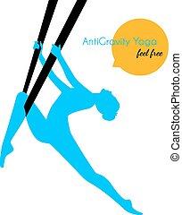 Anti-gravity yoga poses woman silhouette