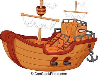 antique classical yacht cartoon