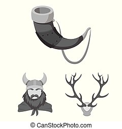 Vector illustration of antler and animal icon. Collection of antler and death stock symbol for web.