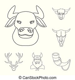 Vector illustration of antler and animal sign. Collection of antler and death stock symbol for web.