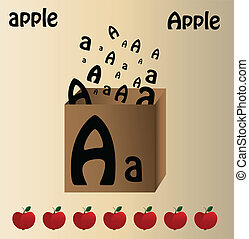 """Vector illustration of apple and english letter """"A"""""""