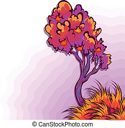 Vector illustration of apple tree