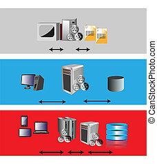 application architecture evolution - Vector illustration of ...