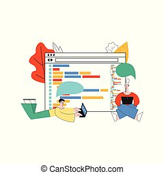 Vector illustration of application development concept isolated on white background in flat style.