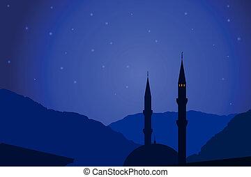 Vector illustration of Arabic night