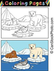Arctic animals for coloring book - Vector illustration of...