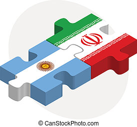 Argentinian and Iranian Flags in puzzle