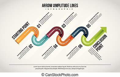 Arrow Amplitude Lines Infographic - Vector illustration of...