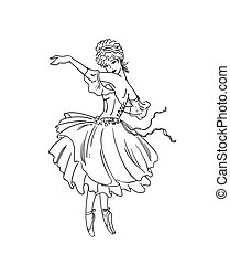 art deco ballerina - Vector illustration of art deco...