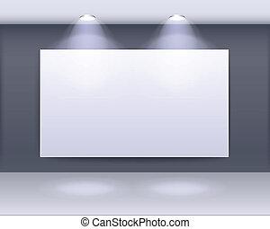 Vector Illustration of art gallery frame design with spotlights