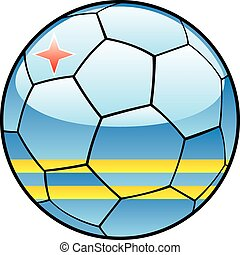 Aruba flag on soccer ball