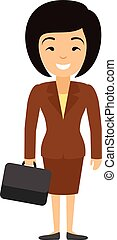 Vector illustration of asian businesswoman character with case in flat style.