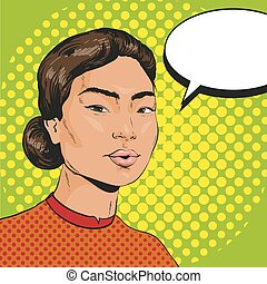 Vector Illustration of asian woman in retro pop art style