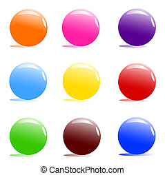 vector Illustration of assorted color balls on white background